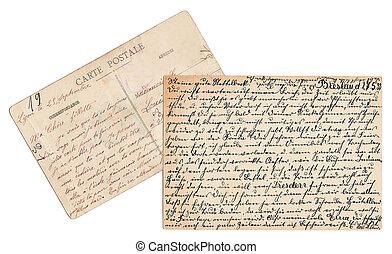 postkarten, handgeschrieben
