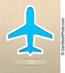postkort, flyvemaskine, vektor, illustration