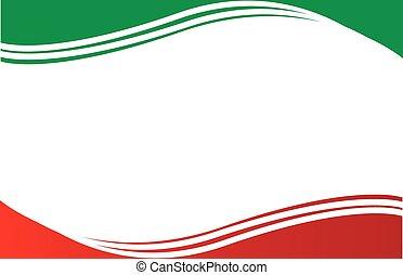 postkort, grænse, flag, mexikansk