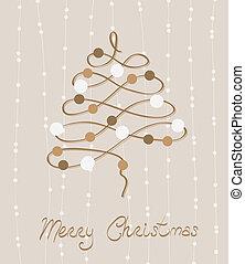 postkort, vektor, retro, glædelig jul