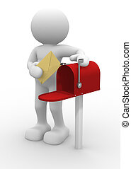 Postman and mailbox - 3d people character and mailbox - 3d...