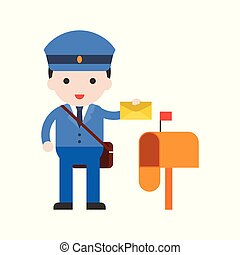 Postman and post box, Set Profession character of people in uniform, flat design