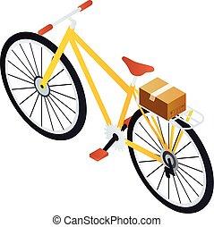 Postman bike icon, isometric style