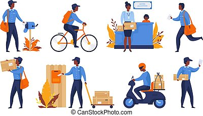 Postman. Cartoon delivery worker character shipping parcels, walking with mail and riding. Vector express delivery and shipping scenes