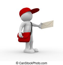 Postman - 3d people - human character, person with cap....