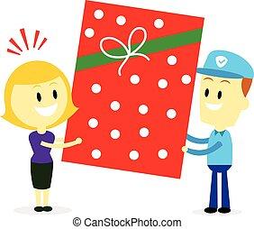 A Big Present Gift - Postman Delivering A Big Present Gift...