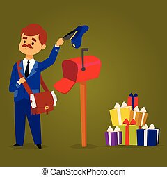Postman delivery man character vector courier occupation carrier package mail shipping deliver professional people with envelope.
