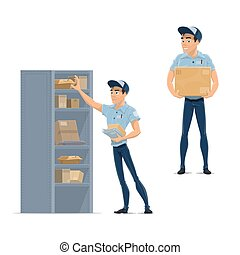 Postman, delivery man, mailman or courier icon