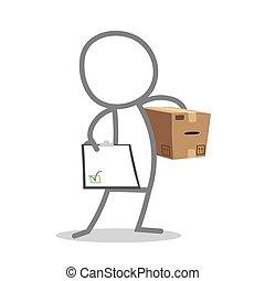 Postman - Doodle postman delivering a parcel.