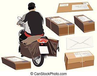 Postman driving a motorcycle or bike cartoon back view