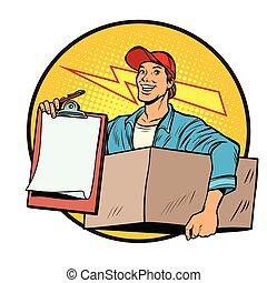 postman., entrega, mail., courier., pacotes