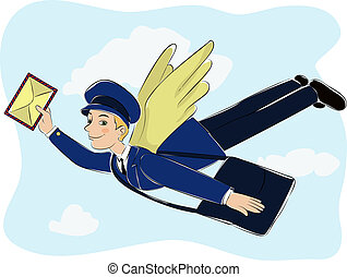 Postman flies on the wings to deliver quick email.