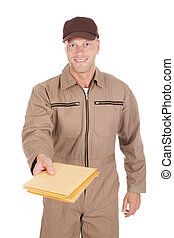 Postman Giving Envelopes Over White Background - Portrait of...