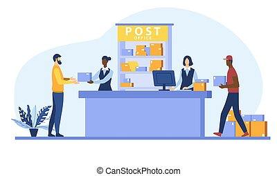 Postman giving parcel to customer in post office. Courier carrying boxes. Flat cartoon vector illustration for shipping, delivery, logistic service concept