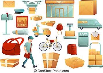 Postman icons set, cartoon style