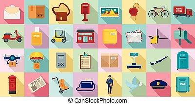 Postman icons set, flat style
