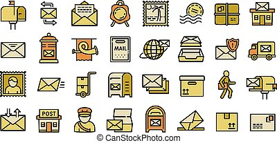 Postman icons set, outline style