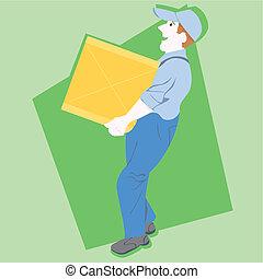 Postman Mailman mail carrier vector illustration cartoon