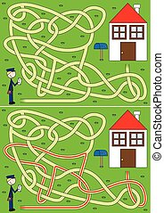 Postman maze for kids with a solution