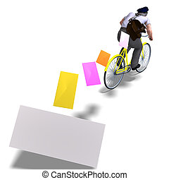 postman on a bike with invitations. 3D rendering with ...