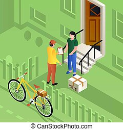 Postman on bike delivery parcel concept background, isometric style