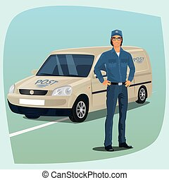 Postman or mail carrier with postal car