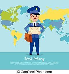 postman., postier, livraison, complet, mondiale, bannière