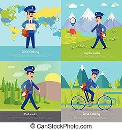 postman., postino, consegna, mondo, bicicletta, bandiera