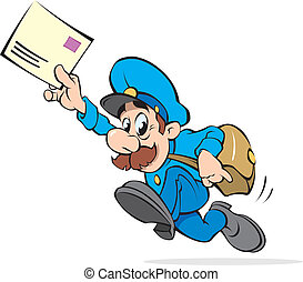 Postman with a letter, vector illustration