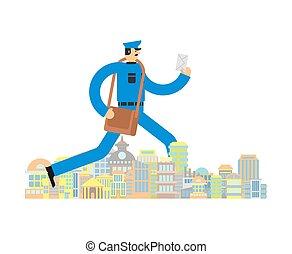 Postman run city. Mailman Running by town