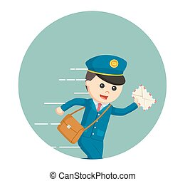 postman running delivering letter in circle background