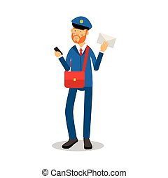 Postman with a red beard in blue uniform delivering letter cartoon character, express delivery mail vector Illustration