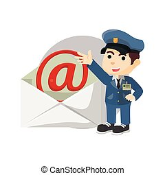 Postman with giant mail envelope