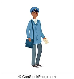Postman With Handbag, Part Of Happy People And Their Professions Collection Of Vector Characters