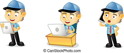 Postman with laptop mascot