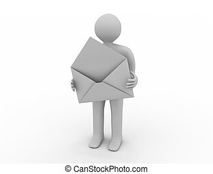 postman with open envelope. Isolated 3D image