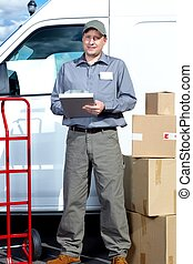 Postman with parcel box.