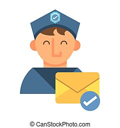 postman worker with envelope mail