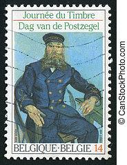 postmark - BELGIUM - CIRCA 1990: Postman Roulin, by Van...