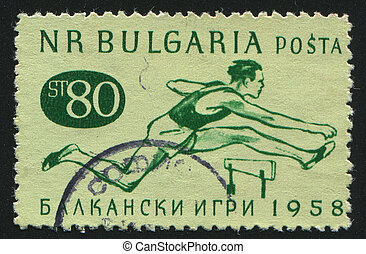 postmark - BULGARIA - CIRCA 1958: stamp printed by Bulgaria,...