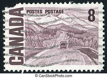 postmark - CANADA - CIRCA 1967: stamp printed by Canada,...