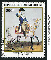 postmark - CENTRAL AFRICAN REPUBLIC - CIRCA 1983: George...