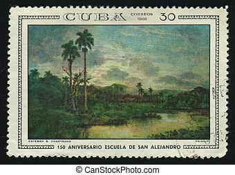 postmark - CUBA - CIRCA 1968: A stamp printed by Cuba, shows...