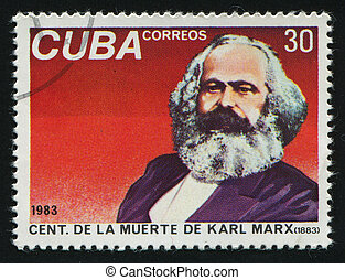 postmark - CUBA - CIRCA 1983: Portrait of the man. Karl Marx...