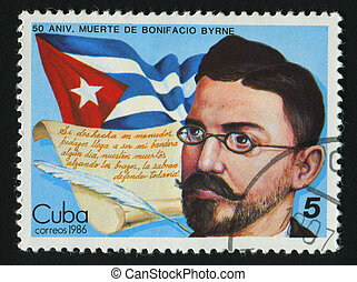 postmark - CUBA - CIRCA 1986: Bonifacio Byrne. Poet, circa...