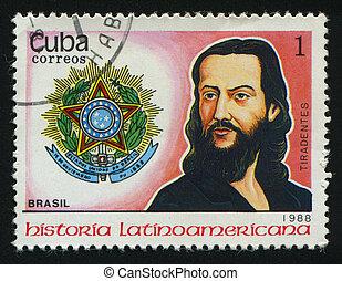 postmark - CUBA - CIRCA 1988: Latin American History....