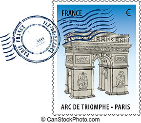 Vector postmark with sight of eiffel tower and Statue of Liberty