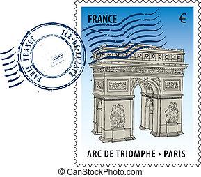 Postmark from France - Vector postmark with sight of eiffel ...