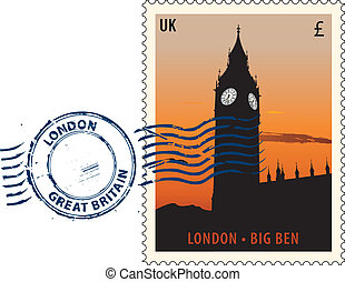 Postmark from London - Postmark with night sight of London...