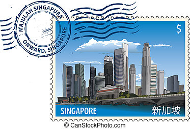 Postmark with Singapore cityscape